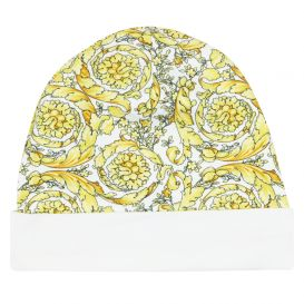 White & Gold Printed Hat