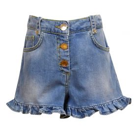 Frill Detail Blue Denim Shorts