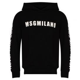 Slogan Sleeve Black Hooded Sweatshirt