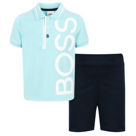 Blue & Navy Polo Shirt & Shorts Set