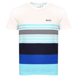 White & Blue Printed Stripe T Shirt