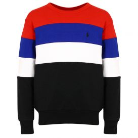 Colour Block Striped Red Sweatshirt