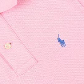 Small Chest Logo Pink Polo Shirt