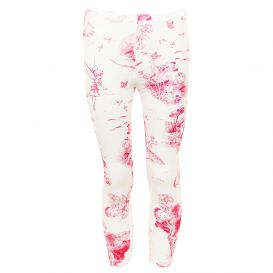 White & Pink Disney Printed Leggings