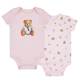 Pink 2 Pack Bear Rompers