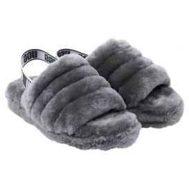 Charcoal Grey Fluff Yeah Sandals