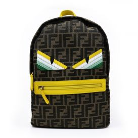Brown & Yellow FF Logo Print Monster Backpack