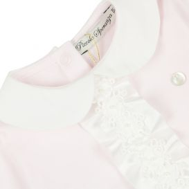 Pink & White Satin Ruffle Detail All In One