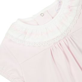 Pink Romper With Lace Trim Collar