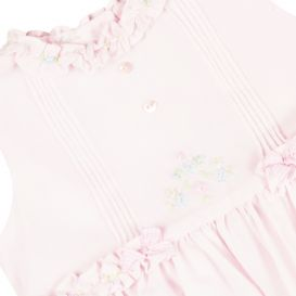Pink Ruffle Embroidered Dress