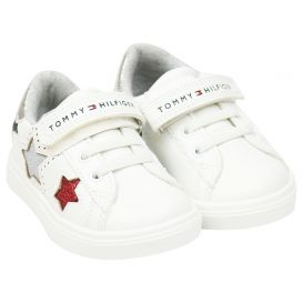 Lace & Velcro Star Detail Trainers White