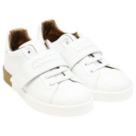 White & Gold Lace Trainers