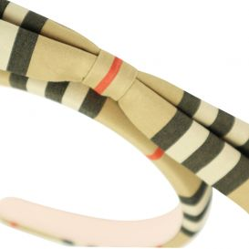 Archive Beige Icon Stripe Bow Hairband