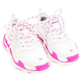 White & Fluorescent Pink Triple S Trainers
