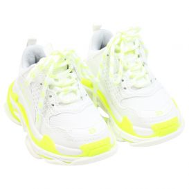 White & Fluorescent Yellow Triple S Trainers