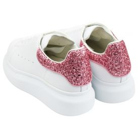 White & Pink Chunky Trainers