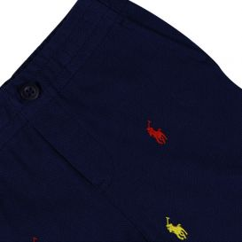 Embroidered Contrast Logo Navy Shorts