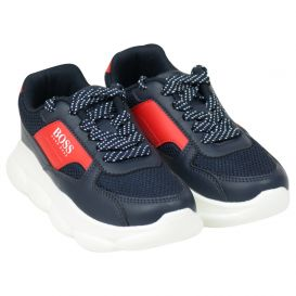 Navy & Red Lace Trainers