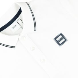 White Long Sleeve Patch Polo Shirt
