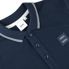 Navy Long Sleeve Patch Polo Shirt