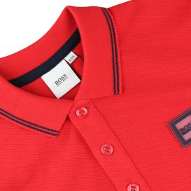 Red Long Sleeve Patch Polo Shirt
