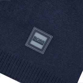 Navy Cotton Knitted Scarf