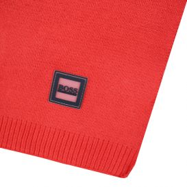 Red Cotton Knitted Scarf