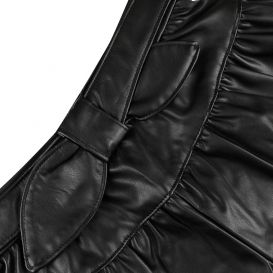Black Faux Leather Bow Shorts