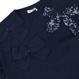 Navy Knitted Bow Dress