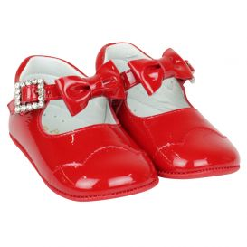 Red Bow Diamante Buckle Patent Shoes