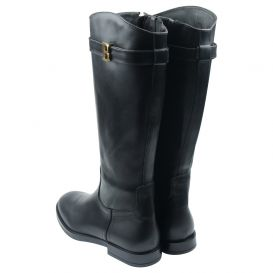 Black Long Leather Boots