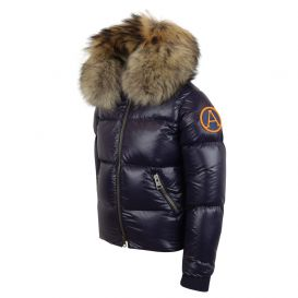 Navy Puffer Jacket With Fur Hood