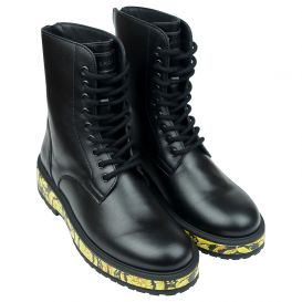 Black Barocco Print Leather Boots
