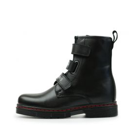 Black Touch-Strap Leather Boots