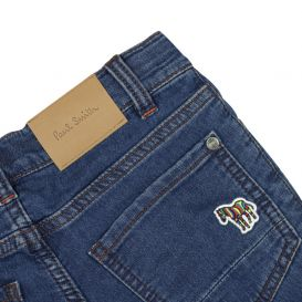 Navy Fitted Zebra Jeans
