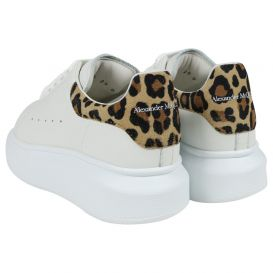 Oversized Leopard Print Trainers White