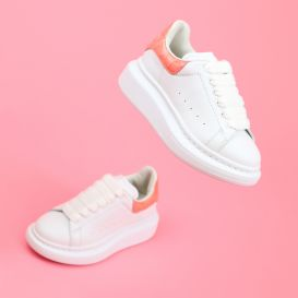 White & Shiny Pink Chunky Trainers