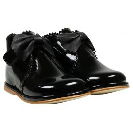 Bow Boots Black Patent