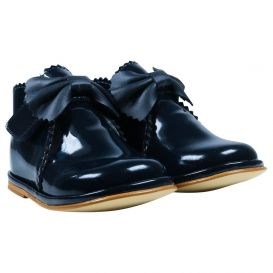 Babyshoes Bow Boots Navy Patent
