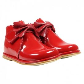 Bow Boots Red Patent