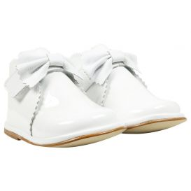 Bow Boots White Patent