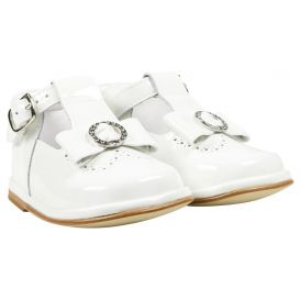 Scallop Trim Bow Shoes White Patent