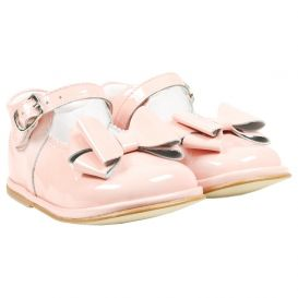 Scallop Trim Bow Shoes Pink Patent