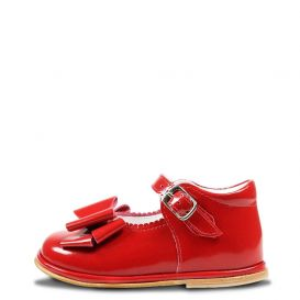 Scallop Trim Bow Shoes Red Patent