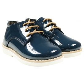 Lace Up Shoes Navy Patent