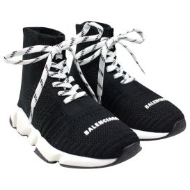 Lace Up Sock Trainers Black
