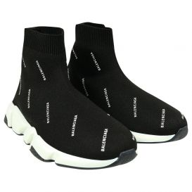 Repeat White Logo Sock Trainers Black