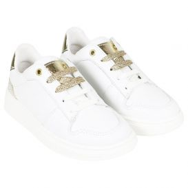 Leather Gold Trainers White