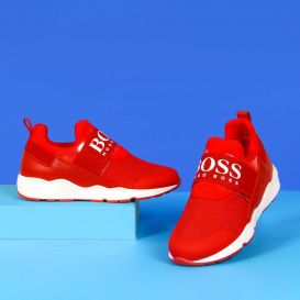 Logo Strap Trainers Red