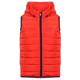 Puffer Navy Trim Gilet Red